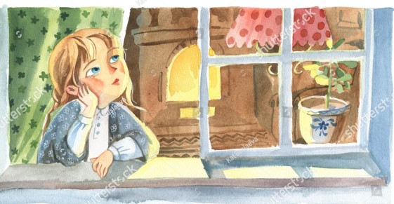 stock-photo-watercolor-illustration-front-view-of-the-little-girl-who-looks-through-the-window-to-the-street-1212346648
